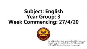 Subject English Year Group 3 Week Commencing 27420