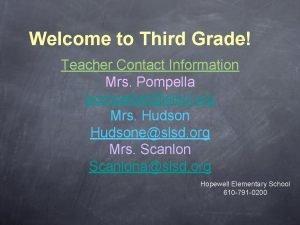 Welcome to Third Grade Teacher Contact Information Mrs