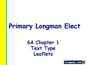 Primary Longman Elect 6 A Chapter 1 Text