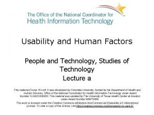 Usability and Human Factors People and Technology Studies
