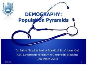 DEMOGRAPHY Population Pyramids Dr Salwa Tayel Prof A