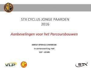 STX CYCLUS JONGE PAARDEN 2016 Aanbevelingen voor het