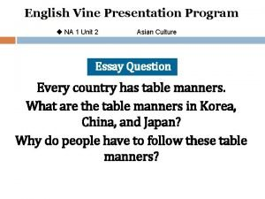 English Vine Presentation Program u NA 1 Unit