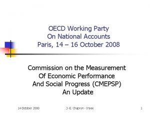 OECD Working Party On National Accounts Paris 14
