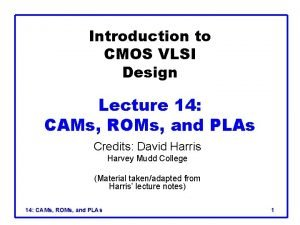 Introduction to CMOS VLSI Design Lecture 14 CAMs