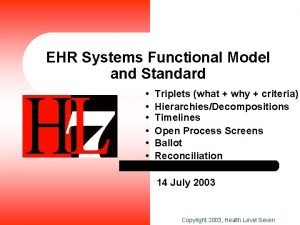 EHR Systems Functional Model and Standard Triplets what