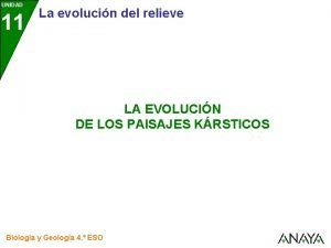 UNIDAD 11 La evolucin del relieve LA EVOLUCIN