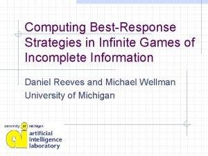 Computing BestResponse Strategies in Infinite Games of Incomplete