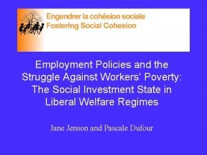 Employment Policies and the Struggle Against Workers Poverty