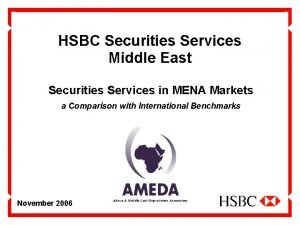 HSBC Securities Services Middle East Securities Services in