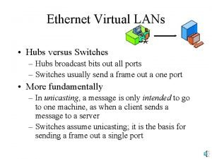 Ethernet Virtual LANs Hubs versus Switches Hubs broadcast