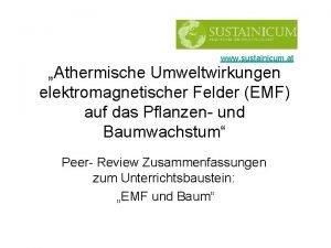 www sustainicum at Athermische Umweltwirkungen elektromagnetischer Felder EMF