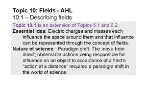 Topic 10 Fields AHL 10 1 Describing fields