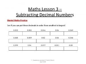 Maths Lesson 3 Subtracting Decimal Numbers Mental Maths