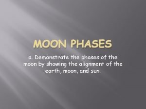 MOON PHASES a Demonstrate the phases of the