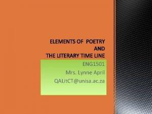 ENG 1501 Mrs Lynne April QALit CTunisa ac