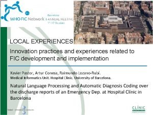LOCAL EXPERIENCES Innovation practices and experiences related to