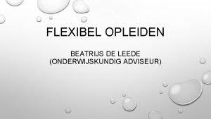 FLEXIBEL OPLEIDEN BEATRIJS DE LEEDE ONDERWIJSKUNDIG ADVISEUR DOELEN
