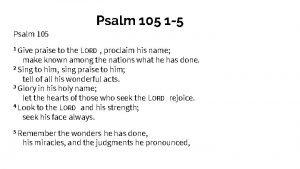 Psalm 105 1 5 Psalm 105 1 Give