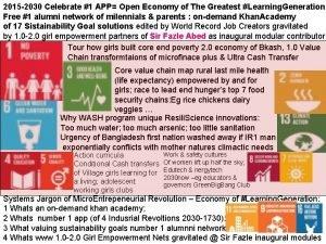 2015 2030 Celebrate 1 APP Open Economy of