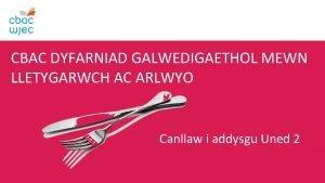 CBAC DYFARNIAD GALWEDIGAETHOL MEWN LLETYGARWCH AC ARLWYO Canllaw
