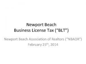 Newport Beach Business License Tax BLT Newport Beach