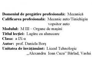Domeniul de pregtire profesional Mecanic Calificarea profesional Mecanic