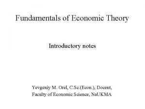 Theory of economic Economic theory