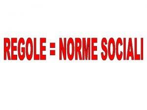 NORME SOCIALI Norme di costume Norme religiose Norme