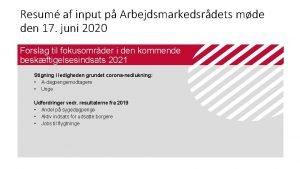 Resum af input p Arbejdsmarkedsrdets mde den 17