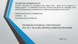 Unidad de competencia IV Analizar crticamente los paradigmas