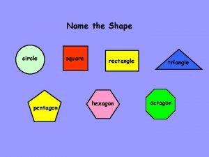Name the Shape circle pentagon square rectangle hexagon