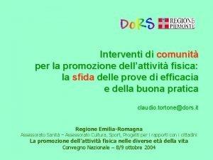 Interventi di comunit per la promozione dellattivit fisica