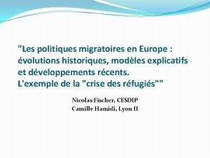 Les politiques migratoires en Europe volutions historiques modles