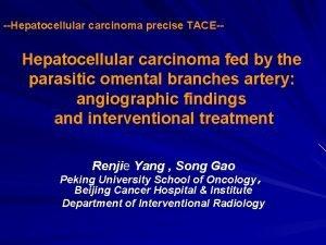 Hepatocellular carcinoma precise TACE Hepatocellular carcinoma fed by