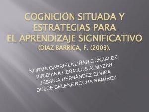 COGNICIN SITUADA Y ESTRATEGIAS PARA EL APRENDIZAJE SIGNIFICATIVO