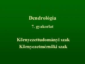Dendrolgia 7 gyakorlat Krnyezettudomnyi szak Krnyezetmrnki szak r