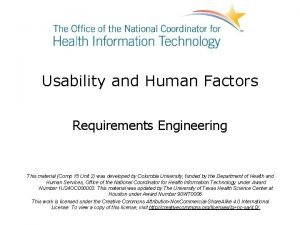 Usability and Human Factors Requirements Engineering This material