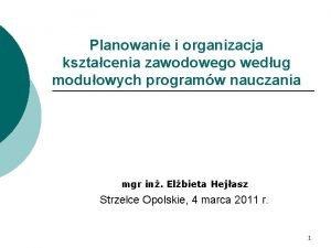 Planowanie i organizacja ksztacenia zawodowego wedug moduowych programw