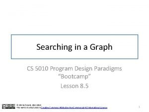 Searching in a Graph CS 5010 Program Design
