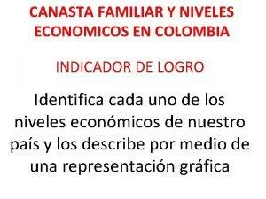 CANASTA FAMILIAR Y NIVELES ECONOMICOS EN COLOMBIA INDICADOR