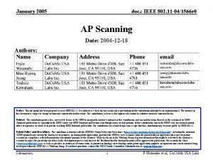 January 2005 doc IEEE 802 11 041566 r
