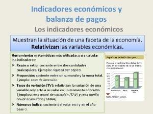 Indicadores econmicos y balanza de pagos Los indicadores