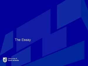 The Essay The essay writing process Once you
