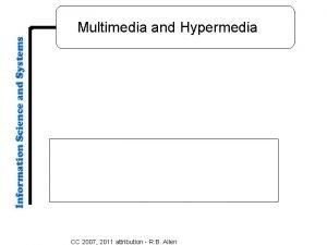 Multimedia and Hypermedia CC 2007 2011 attribution R