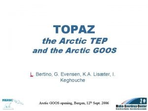 TOPAZ the Arctic TEP and the Arctic GOOS