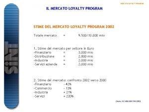 MERCATO LOYALTY PROGRAM IL MERCATO LOYALTY PROGRAM STIME