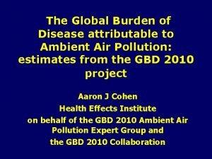 The Global Burden of Disease attributable to Ambient