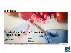South African National Committee IEC AFSEC Speaker name