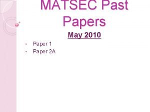 MATSEC Past Papers May 2010 Paper 1 Paper